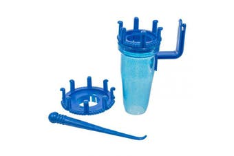 (Blue) - 4 Piece Plastic Mini Knitter with Hook – Comes with 2 Loom Sizes – Instructions Included on Packaging (Blue)