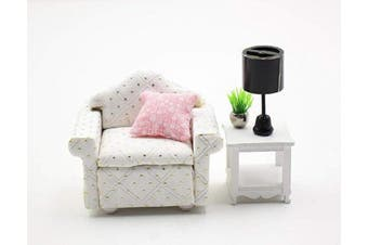 Cool Beans Boutique Miniature Dollhouse Furniture DIY Kit – Single Sofa and End Table – 1:18 Scale Miniature Furniture