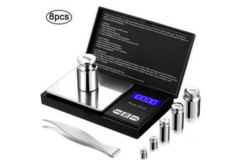8 Pieces Digital Pocket Scale Set, 100 g 0.01 g Mini Scale Electronic Grammes Scale with 1 g, 2 g, 5 g, 10 g, 20 g, 100 g Calibration Weight and Calibration Weight Tweezer for Food Jewellery