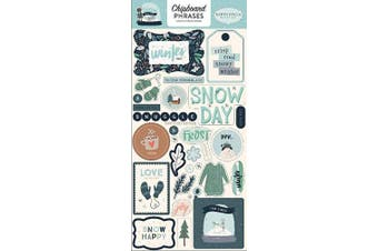 Carta Bella Paper Company CBSMF108022 Snow Much Fun 6x13 Phrases chipboard, Blue, Teal, Green, Navy, Cream, Grey