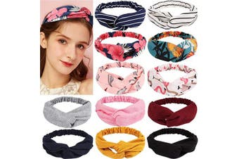 BAHABY 12 Pcs Boho Headbands Vintage Flower Printed Criss Cross Elastic Hair Bands Head Wrap (10 Colours)