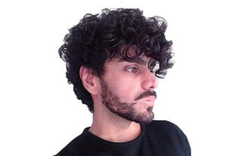 Baruisi Short Curly Mens Black Wig Fluffy Synthetic Cosplay Halloween Hair Wig for Male Guy