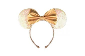 (White and Golden) - A Miaow PU Bow Sequin Ears Mickey Mouse Headband Minnie Glitter Hair Hoop MM Hairband Park Supply Photo Shoot Accessory (White and Golden)