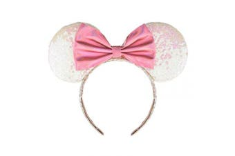 (White and Pink) - A Miaow PU Bow Sequin Ears Mickey Mouse Headband Minnie Glitter Hair Hoop MM Hairband Park Supply Photo Shoot Accessory (White and Pink)