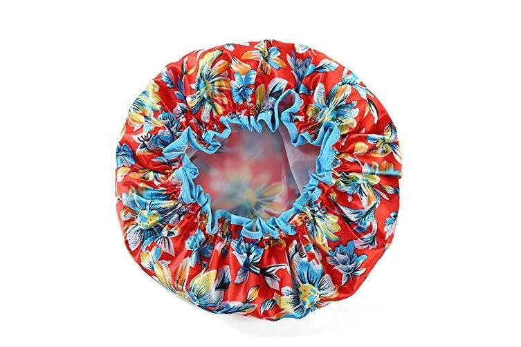 (Adult Size, Red Flower) - Fashion Design Stylish Reusable Shower cap with Beautiful pattern and colour (Adult Size, Red Flower)