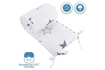 (210cm, White) - Luchild Baby Cot Bumper, Crib Bumper Wrap Around Protection 100% Cotton Crib Bumpers Bedding-210cm
