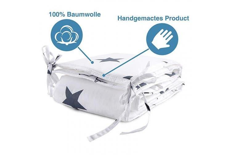 (180cm, White) - Luchild Baby Cot Bumper, Crib Bumper Wrap Around Protection 100% Cotton Crib Bumpers Bedding-180cm