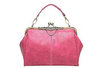 (L) - Abuyall Women Retro Vintage Kiss Lock Imitation Leather Shoulder Purse Handbag Totes Bag Satchel L