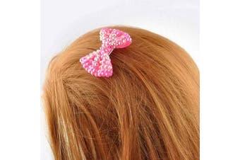 (Small, Two Tone Fuchsia) - Beautiful Girls Shiny Rhinestone Essential Hair Bow Clip Accessories, School Disco, Birthday Party Gift 2 pcs, Two Tone Fuchsia