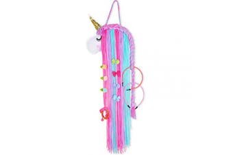 (Hot Pink and Cyan Unicorn) - Basumee Unicorn Hair Clip Organiser for Girls Wall Hanging Decor and Baby Hair Bow Holder