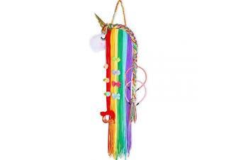 (Bright Rainbow Unicorn) - Basumee Unicorn Hair Clip Organiser for Girls Wall Hanging Decor and Baby Hair Bow Holder