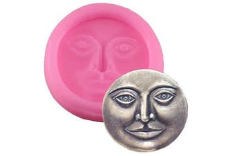 Moon Face Silicone Mould for DIY Jelly Shots Ice Cube Candy Cupcake Cake Topper Decoration Soap Mould Handmade Ice Cream Fondant Mould Gum Paste Chocolate Desserts Crystal Pudding