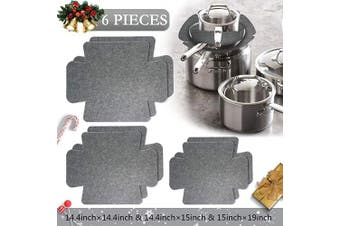 (6pcs-gray) - 6 Pcs Grey Bakeware Protectors, with 3 Different Sizes-Small, Medium & Large, Pots & Pans Potholder Felt for Protecting Pan Stacking,Dish Scratch,Pan Separator Pads Rectangular Cookware