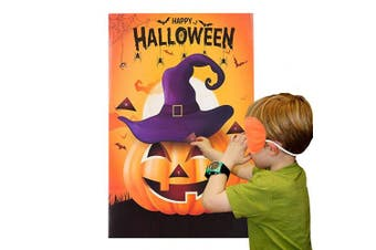(Orange) - MISS FANTASY Halloween Party Games Pin the Nose on the Pumpkin Game for Kids Halloween Costume Party Favours Decorations (PIN THE PUMPKIN)