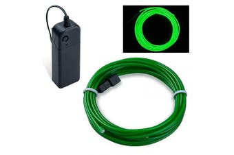 (Emerald Green, 5M) - COVVY Neon Glowing Strobing Electroluminescent Light Super Bright Battery Operated EL Wire Cable for Cosplay Dress Festival Halloween Christmas Party Carnival Decoration (Emerald Green, 5M)