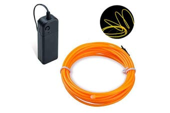 (Yellow, 3M) - COVVY Neon Glowing Strobing Electroluminescent Light Super Bright Battery Operated EL Wire Cable for Cosplay Dress Festival Halloween Christmas Party Carnival Decoration (Yellow, 3M)