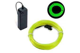 (Green, 5M) - COVVY Neon Glowing Strobing Electroluminescent Light Super Bright Battery Operated EL Wire Cable for Cosplay Dress Festival Halloween Christmas Party Carnival Decoration (Green, 5M)