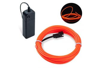 (Orange, 3M) - Covvy Neon Glowing Strobing Electroluminescent Light Super Bright Battery Operated EL Wire Cable for Cosplay Dress Festival Halloween Christmas Party Carnival Decoration (2.7m, Orange)