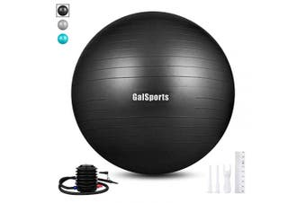 (L (58-65cm), Black) - GalSports Extra Thick Exercise Ball, Anti-Burst Yoga Ball Chair Supports 1000kg with Quick Pump, Stability Fitness Ball for Birthing & Core Strength Training & Physical Therapy