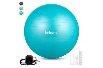 (L (58-65cm), Turkis) - GalSports Extra Thick Exercise Ball, Anti-Burst Yoga Ball Chair Supports 1000kg with Quick Pump, Stability Fitness Ball for Birthing & Core Strength Training & Physical Therapy