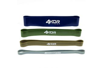 (4 Extra Thick Bands) - 4KOR Fitness Resistance Loop Band Set, Perfect for Crossfit, Yoga, Physical Therapy, and Booty Building