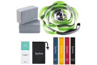 Syntus 9-in-1 Yoga Set, 1 Yoga Strap with 12 Loops, 2 EVA Foam Soft Non-Slip Yoga Blocks 9×6×4 inches,4 Resistance Bands with Instruction Book for Yoga, Pilates, Stretching and Toning Workouts