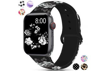 (42mm/44mm S/M, Black peony) - Merlion Compatible with Apple Watch Band 38mm 42mm 40mm 44mm for Women/Men,Silicone Fadeless Pattern Printed Replacement Floral Bands for iWatch Series 4/3/2/1
