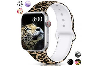 (42mm/44mm S/M, Leopard) - Merlion Compatible with Apple Watch Band 38mm 42mm 40mm 44mm for Women/Men,Silicone Fadeless Pattern Printed Replacement Floral Bands for iWatch Series 4/3/2/1