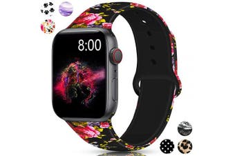 (42mm/44mm S/M, Pink Rose) - Merlion Compatible with Apple Watch Band 38mm 42mm 40mm 44mm for Women/Men,Silicone Fadeless Pattern Printed Replacement Floral Bands for iWatch Series 4/3/2/1
