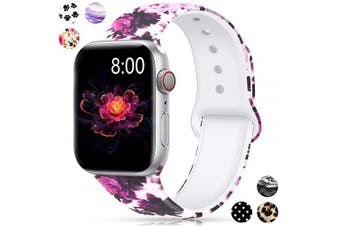 (42mm/44mm S/M, Begonia) - Merlion Compatible with Apple Watch Band 38mm 42mm 40mm 44mm for Women/Men,Silicone Fadeless Pattern Printed Replacement Floral Bands for iWatch Series 4/3/2/1