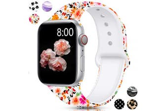 (42mm/44mm S/M, Ink painting lotus) - Merlion Compatible with Apple Watch Band 38mm 42mm 40mm 44mm for Women/Men,Silicone Fadeless Pattern Printed Replacement Floral Bands for iWatch Series 4/3/2/1