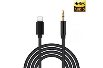 Aux Cable for Car , 3.5mm Audio Cable, Car Aux Cable for iPhone X/Xs/Xr / 8/7 / 6 / Plus, for Aux Cord for Car Stereo & Headphone & Speaker [Gold Plated] - Black