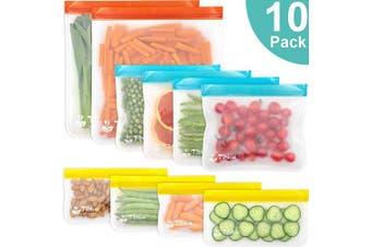 (PEVA, Multicolor) - Reusable Food Storage Bags - 10 PCS BPA FREE Freezer Bags( 7.6l Bags + 4 Reusable Sandwich Bags + 4 Reusable Snack Bags) LEAKPROOF Reusable Lunch Ziplock Bags for Food Travel Make-up Home Organise