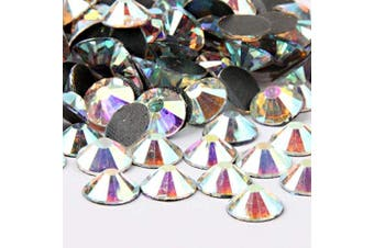 (8mm, Crystal AB) - Beadsland Crystal Hotfix Rhinestone,Machine Cut Stone 100pcs/pkg (Crystal AB, 8mm)