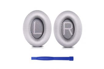 (Bose QC, Bose QC35-Silver) - Professional Bose QC35 Ear Pads Cushions Replacement - Earpads Compatible with Bose QuietComfort 35 (QC35) and Quiet Comfort 35 II (QC35 II) Over-Ear Headphones