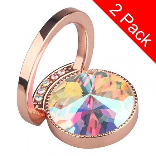 for iPhone 11 X XR XS 8 7 Plus 6S 6 5s 5 SE Rose Gold Galaxy S8 S7 S6 Edge Diamond Phone Ring Tomorotec Round Cell Phone Ring Stand with Black Car Mount Hook