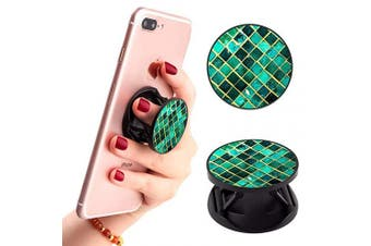 (Green Marble) - Green Lattice Marble Phone Finger Foldable Expanding Stand Holder Kickstand Hand Grip Car Mount Hooks Widely Compatible with Almost All Phones/Cases