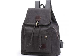 (Dark Grey) - Vintage Drawstring Canvas Backpack, Casual Shoulder Bag, Laptop Backpacks Rucksack for Men and Women(Dark Grey)