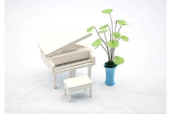 1:18 Scale Cool Beans Boutique Miniature Dollhouse Musical Instrument DIY Kit – White Grand Piano – 1:18 Scale Miniature Furniture