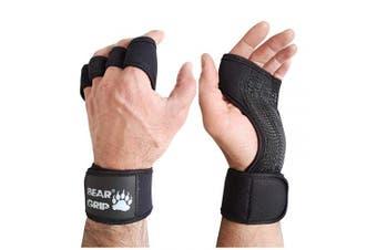 (Black, M) - BEAR GRIP - Open Workout Gloves for Crossfit, Bodybuilding, callisthenics, Powerlifting
