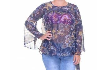 Style & Co. Floral Pais Blue Long Sleeve Top Size S
