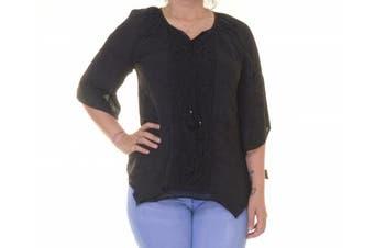 Style & Co Women's 3/4 Sleeve Black Top Size XS