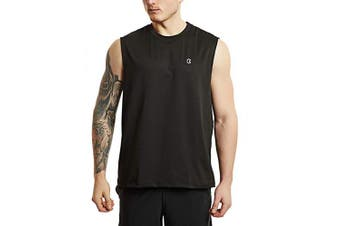 (Large, Black) - Bewinds Men' s Performance Quick-Dry Workout Sleeveless Shirts Muscle Bodybuilding Tank Top