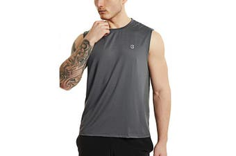 (Large, Gray) - Bewinds Men' s Performance Quick-Dry Workout Sleeveless Shirts Muscle Bodybuilding Tank Top