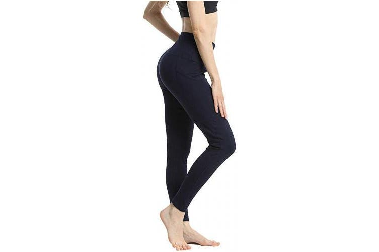 (X-Large, Navy Blue) - HLTPRO High Waist Yoga Pants for Women - Non See Through Tummy Control Yoga Leggings with Pockets for Workout, Running