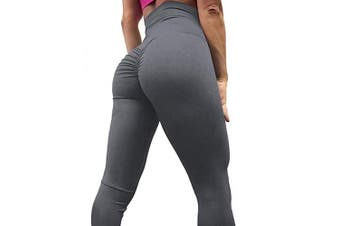 (Large, 1-pure Grey) - A AGROSTE Women's Yoga Pants High Waist Scrunch Ruched Butt Lifting Workout Leggings Sport Fitness Gym Push Up Tights
