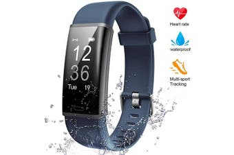 (gray) - Lintelek Fitness Tracker Heart Rate Monitor, Activity Tracker, Pedometer Watch with Connected GPS, Waterproof Calorie Counter, 14 Sports Modes Step Tracker for Women, Men and Gift