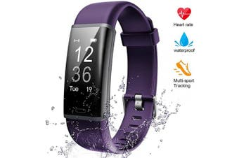 (purple) - Lintelek Fitness Tracker Heart Rate Monitor, Activity Tracker, Pedometer Watch with Connected GPS, Waterproof Calorie Counter, 14 Sports Modes Step Tracker for Women, Men and Gift