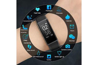 (Black) - Lintelek Fitness Tracker Heart Rate Monitor, Activity Tracker, Pedometer Watch with Connected GPS, Waterproof Calorie Counter, 14 Sports Modes Step Tracker for Women, Men and Gift