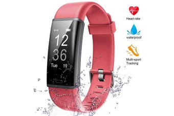 (red) - Lintelek Fitness Tracker Heart Rate Monitor, Activity Tracker, Pedometer Watch with Connected GPS, Waterproof Calorie Counter, 14 Sports Modes Step Tracker for Women, Men and Gift